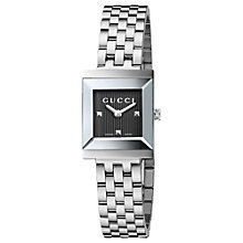 Buy Gucci YA128403 Women's G-Frame Stainless Steel Bracelet Watch, Silver / Black Online at johnlewis.com