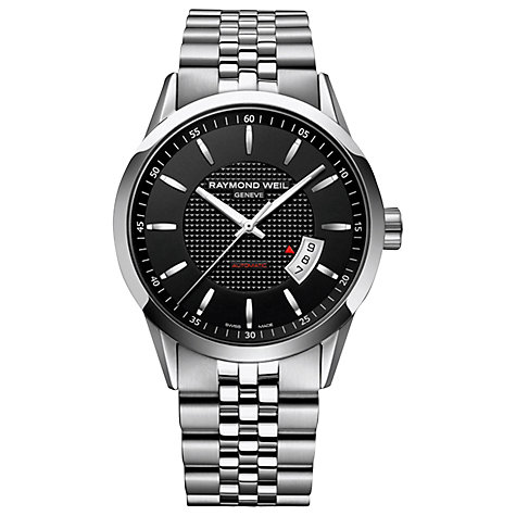 Buy Raymond Weil 2730-ST20021 Men's Freelancer Stainless Steel Strap Watch, Black Online at johnlewis.com