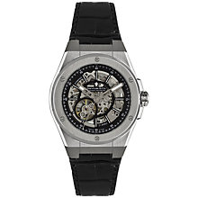 Buy Dreyfuss & Co Men's Seafarer Skeleton Dial Leather Strap Watch Online at johnlewis.com