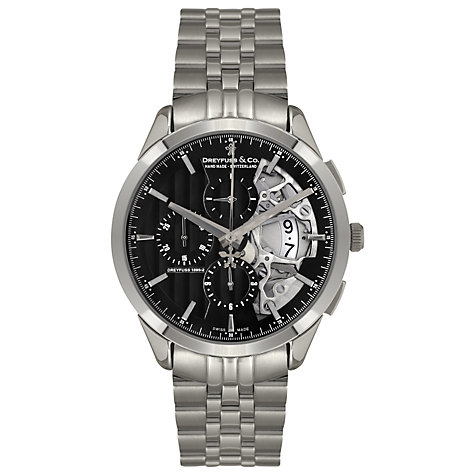 Buy Dreyfuss & Co DGS00071/04 Men's Seafarer Chronograph Half-Skeleton Watch, Black / Silver Online at johnlewis.com