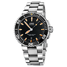 Buy Oris 73376534159MB Men's Aquis Date Bracelet Strap Divers Watch, Black / Silver Online at johnlewis.com