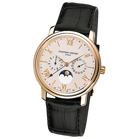 Buy Frederique Constant FC-270SW4P5 Men's Classics Business Timer Leather Strap Watch, Brown Online at johnlewis.com