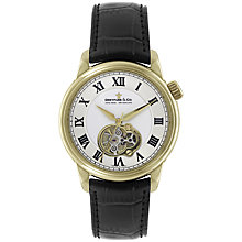 Buy Dreyfuss & Co DGS00092/01 Men's Seafarer Automatic Skeleton Window Watch, Black / Gold Online at johnlewis.com
