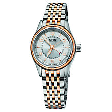 Buy Oris 59476804361MB Women's Aviation Pointer Date Bracelet Strap Watch, Silver / Rose Gold Online at johnlewis.com