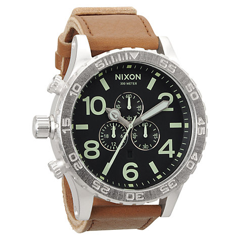Buy Nixon A124-1037 Men's 51-30 Chronograph Stainless Steel Leather Strap Watch, Brown Online at johnlewis.com