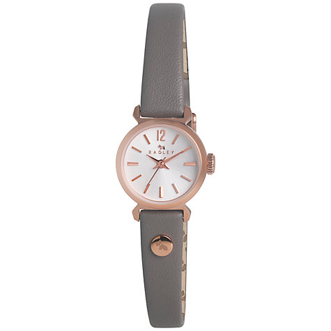 Buy Radley RY2176 Women's Marsupial Leather Strap Watch, Grey / Rose Gold Online at johnlewis.com