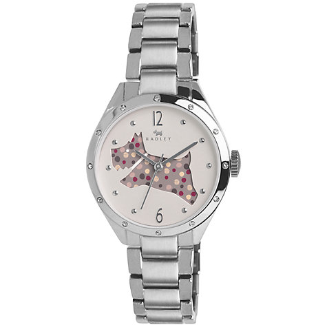 Buy Radley RY4159 Women's Cut Through Spotty Dog Bracelet Strap Watch, Silver Online at johnlewis.com