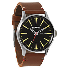 Buy Nixon Men's The Sentry Stainless Steel Leather Strap Watch Online at johnlewis.com
