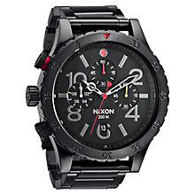 Buy Nixon Men's The 48-20 Chronograph Stainless Steel Bracelet Strap Watch, Black Online at johnlewis.com