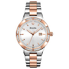 Buy Bulova 98R169 Women's Diamond Bezel Two Tone Watch, Silver / Rose Gold Online at johnlewis.com