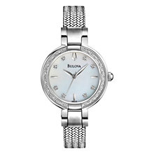 Buy Bulova 96R177 Women's Aracena Mother of Pearl Diamond Dial Watch, Silver Online at johnlewis.com