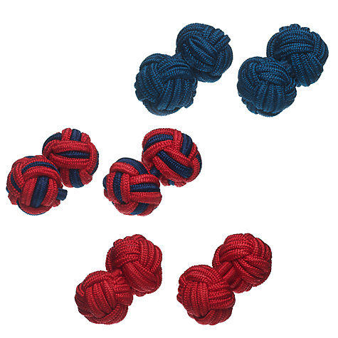 Buy John Lewis Fabric Knot Cufflinks, 3 Pairs Online at johnlewis.com