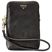 Buy Fossil Tech Leather Carryall, Black Online at johnlewis.com
