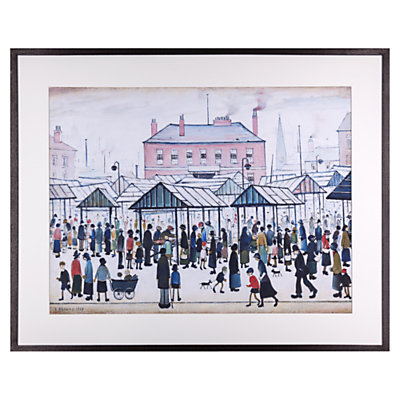 L. S. Lowry – Market Scene, Northern Town Framed Print, 80 x 64cm