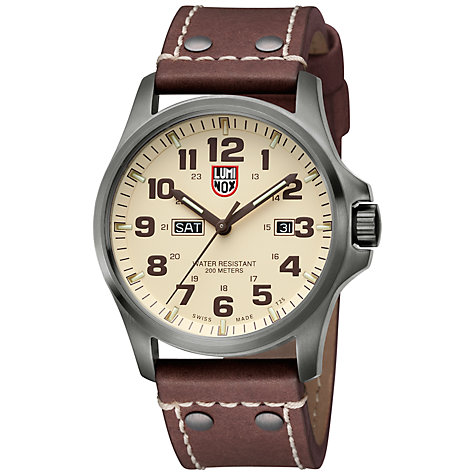 Buy Luminox A.1927 Men's Field Atacama Day / Date Leather Strap Watch, Ivory / Brown Online at johnlewis.com