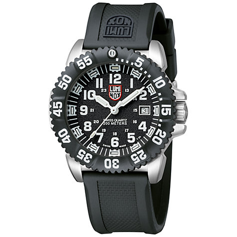 Buy Luminox 3151 Men's Navy Seal Rubber Strap Watch, Black / Silver Online at johnlewis.com