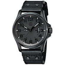 Buy Luminox A.1879.BO Men's Field Day / Date Leather Strap Watch, Blackout Online at johnlewis.com