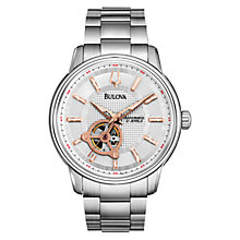 Buy Bulova 96A143 Men's Mechanicals Automatic Watch, Silver / Rose Gold Online at johnlewis.com