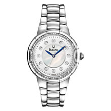 Buy Bulova 96R174 Women's Rosedale Mother of Pearl Diamond Bracelet Watch, Silver Online at johnlewis.com