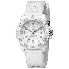 Buy Luminox A.7057.WO Unisex Colourmark Silicone Strap Watch, White Online at johnlewis.com