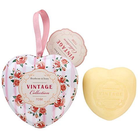 Buy Heathcote & Ivory Vintage Rose Milled Soap in Keepsake Heart Tin, 80g Online at johnlewis.com