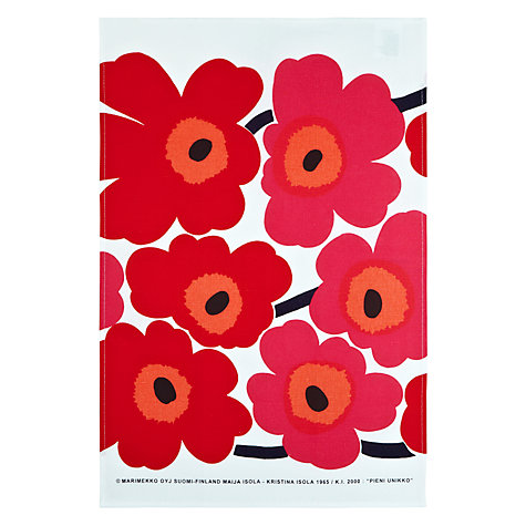 Buy Marimekko Unikko Teatowel, Set of 2, Red Online at johnlewis.com