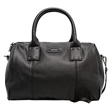 Buy Mango Faux Leather Bowling Handbag, Black Online at johnlewis.com