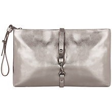 Buy Jigsaw Studley Leather Clutch Handbag, Pewter Online at johnlewis.com