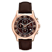 Buy Bulova 97B120 Men's PVD Stainless Steel Chronograph Watch, Rose Gold / Brown Online at johnlewis.com