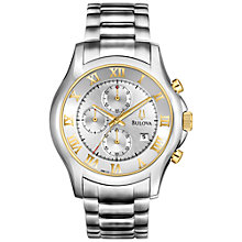 Buy Bulova 98B175 Men's Stainless Steel Two Tone Chronograph Watch, Silver / Gold Online at johnlewis.com