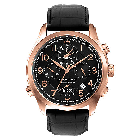 Buy Bulova 97B122 Men's Precisionist Chronograph Black Leather Watch, Rose Gold Online at johnlewis.com