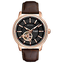 Buy Bulova 97A109 Men's Mechanical Leather Strap Watch, Rose Gold Online at johnlewis.com