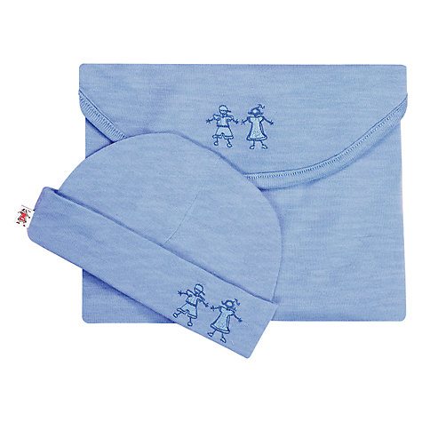 Buy Merino Kids Babywrap Newborn Baby Swaddle Blanket and Hat, Banbury Blue Online at johnlewis.com