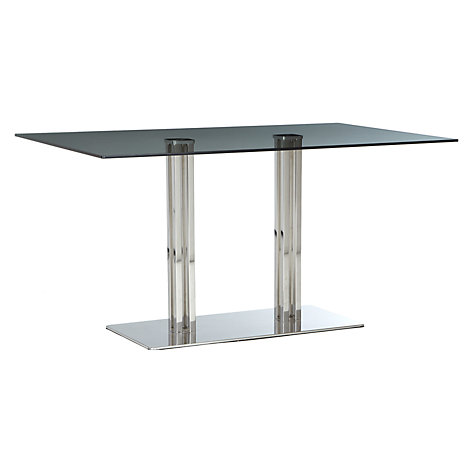 Buy john lewis tropez rectangular 6 seater glass top for Small rectangle glass dining table