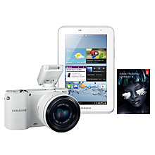 "Buy Samsung NX1100 Compact System Camera with 20-50mm Lens, Flash, Samsung Galaxy Tab 2, 7"" and Adobe Photoshop Lightroom 4 Online at johnlewis.com"