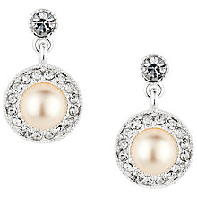 Buy Alan Hannah Round Pearl Crystal Surround Drop Earrings, Silver Online at johnlewis.com