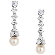 Buy Alan Hannah Long Pearl Crystal Drop Earrings, Rhodium Online at johnlewis.com
