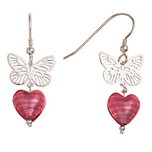 Buy Martick Sterling Silver Butterfly Murano Glass Heart Earrings, Pink Online at johnlewis.com