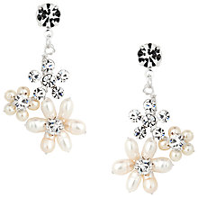Buy Alan Hannah Freshwater Pearl Crystal Flower Drop Earrings, Silver Online at johnlewis.com