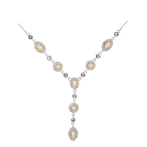 Buy Alan Hannah Oval Pearl Crystal Surround Y-Drop Necklace Online at johnlewis.com