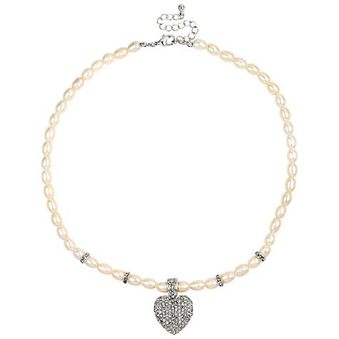 Buy Alan Hannah Puffed Heart Pendant, White Online at johnlewis.com