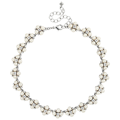 Buy Alan Hannah Four Pearl and Crystal Cluster Rhodium Collar Necklace, White Online at johnlewis.com