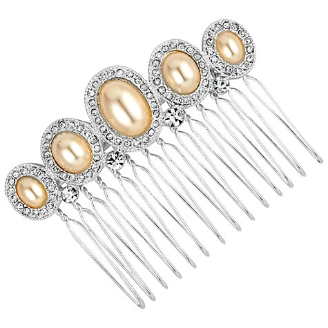 Buy Alan Hannah Oval Pearl Crystal Surround Comb, Silver Online at johnlewis.com