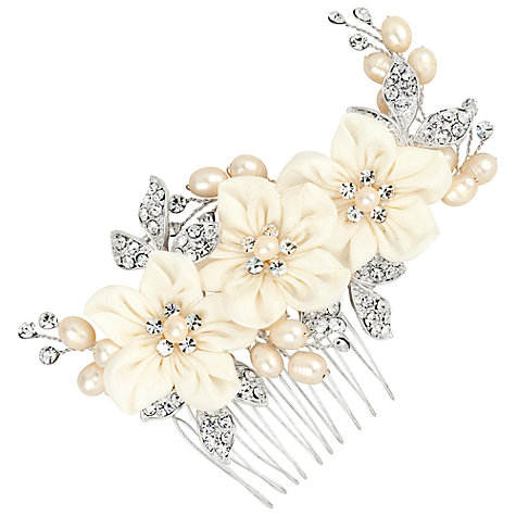 Buy Alan Hannah Silk Flower Freshwater Pearl Dress Comb, Silver Online at johnlewis.com