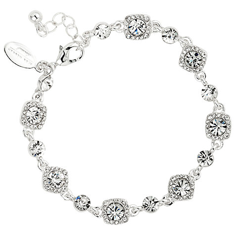Buy Alan Hannah Clara Square Crystal Link Bracelet, Silver Online at johnlewis.com
