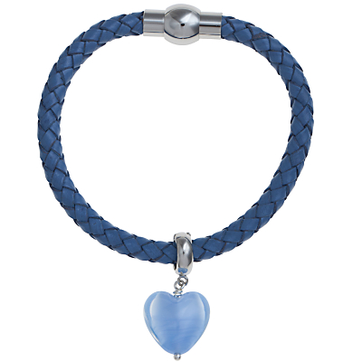 Martick Bohemian Glass Heart Woven Leather Bracelet