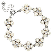 Buy Alan Hannah Four Pearl and Crystal Cluster Rhodium Bracelet, White Online at johnlewis.com