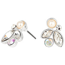 Buy Alan Hannah Navette Crystal Pearl Stud Earrings, Silver Online at johnlewis.com