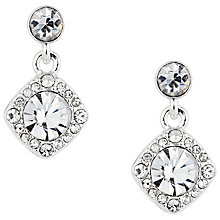 Buy Alan Hannah Clara Square Crystal Drop Earrings, Silver Online at johnlewis.com