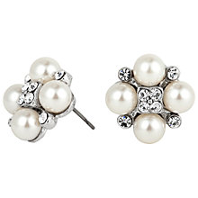Buy Alan Hannah Four Pearl and Crystal Cluster Rhodium Stud Earrings, White Online at johnlewis.com
